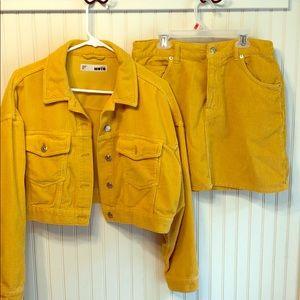 Topshop corduroy skirt and jacket yellow